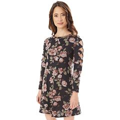 Juniors' IZ Byer Cutout Sleeve Floral Sweaterdress