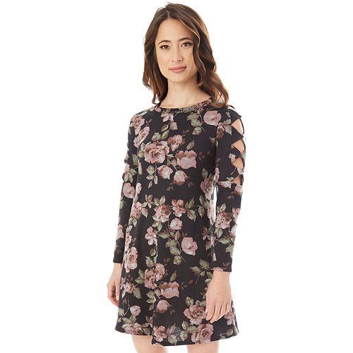 Juniors' IZ Byer Cutout Sleeve Floral Sweaterdress