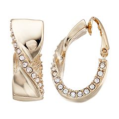 Dana Buchman Simulated Crystal J Hoop Clip On Earrings
