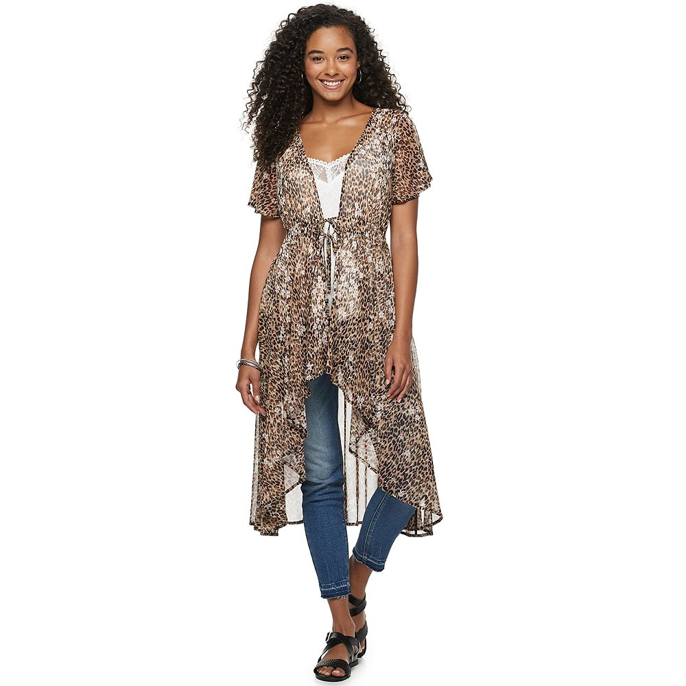 Juniors' American Rag Hi Low Floral Duster With Tie Front