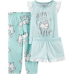 Toddler Girl Carter's Bunny Rabbit Top, Shorts & Pants Pajama Set