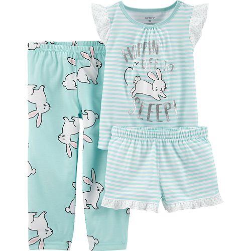 Toddler Girl Carter's Bunny Rabbit Top, Shorts & Pants Pajama Set