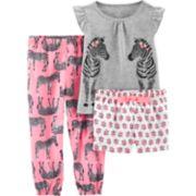 Toddler Girl Carter's Zebra Top, Shorts & Pants Pajama Set