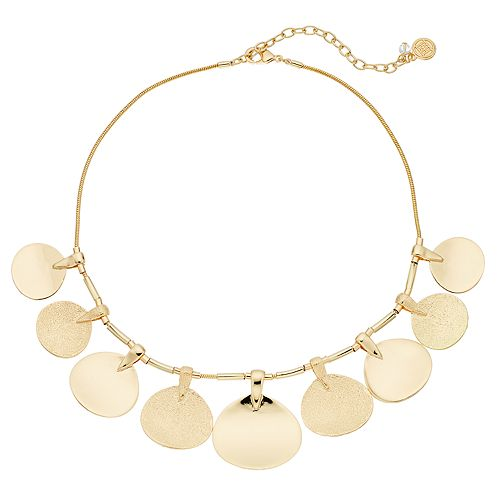 Dana Buchman Gold Tone Disc Necklace