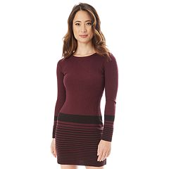 Juniors' IZ Byer Striped Ribbed Bodycon Sweater Dress