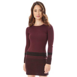 Juniors' IZ Byer Striped Ribbed Bodycon Sweater Dress