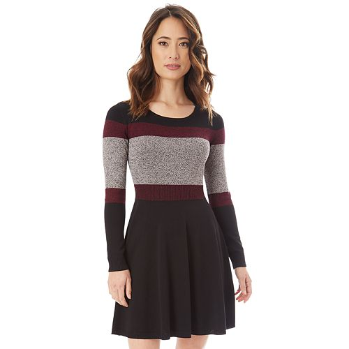 Juniors' IZ Byer Colorblock Skater Sweater Dress