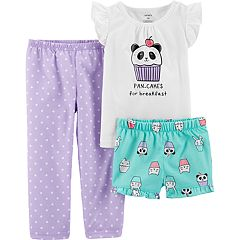 Toddler Girl Carter's Panda Bear & Cupcake Top, Shorts & Pants Pajama Set