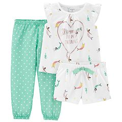 Toddler Girl Carter's 'Mermaid' top, Shorts & Pants Pajama Set