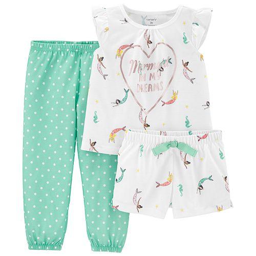 "Toddler Girl Carter's ""Mermaid"" top, Shorts & Pants Pajama Set"