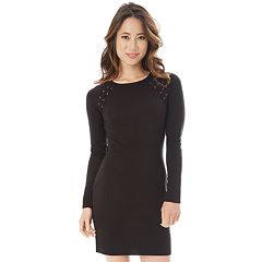 Juniors' IZ Byer Lace-Up Shoulder Sweater Dress