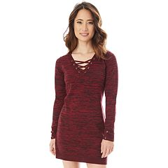 Juniors' IZ Byer Lace-Up Sweater Dress