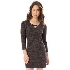 Juniors' IZ Byer Lace-Up Sweater Dress