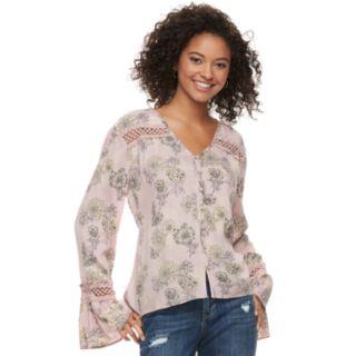 Juniors' American Rag Floral Bell Sleeve Blouse