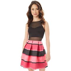 Juniors' IZ Byer Illusion Striped Fit & Flare Dress