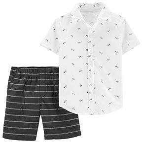 Baby Boy Carter's Paper Airplane Shirt & Striped Shorts Set