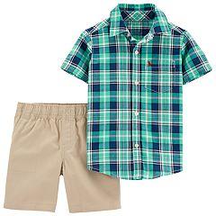 Baby Boy Carter's Plaid Button Down Shirt & Khaki Shorts