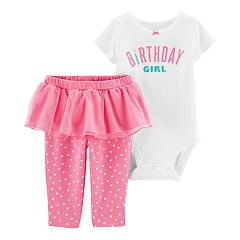Baby Girl Carters Birthday Bodysuit Heart Tutu Pants Set