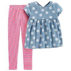 Girls 4-6x Carter's Polka-Dot Chambray Babydoll Top & Striped Leggings Set