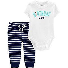 Baby Boy Carter's 'Birthday Boy' Bodysuit & Striped Pants Set