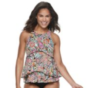 Women's A Shore Fit Tummy Slimmer Tiered High-Neck Tankini Top