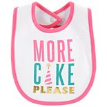 "Baby Girl Carter's ""More Cake Please"" Graphic Bib"