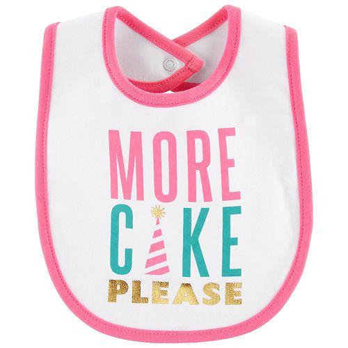"Baby Girl Carter's ""More Cake Please"" Graphic Bib"