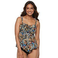 Women's A Shore Fit Tummy Slimmer D-E Cup Tankini Top