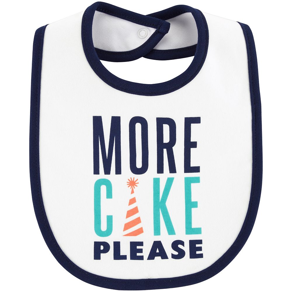 "Baby Boy Carter's ""More Cake Please"" Graphic Bib"
