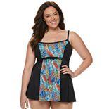Plus Size A Shore Fit Hip Minimizer Colorblock One-Piece Swimdress