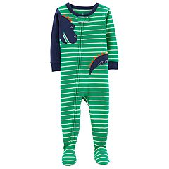 Toddler Boy Carter's Dinosaur Striped Footed Pajamas