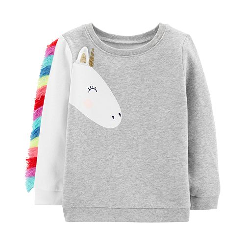 42658a6b0 Toddler Girl Carter's Unicorn Fringe-Sleeve Sweatshirt