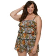 Plus Size A Shore Fit Hip Minimizer Tiered One-Piece Swim Romper