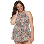 Plus Size A Shore Fit Printed High-Neck Babydoll Swim Dress