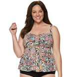 Plus Size A Shore Fit Tummy Slimmer Flared Tankini Top