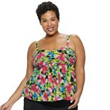 Plus Size A Shore Fit Tummy Slimmer Flyaway Mesh Tankini Top