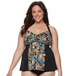Plus Size A Shore Fit Tummy Slimmer Colorblock D-Cup Tankini Top