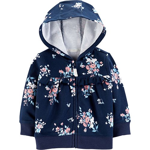 Baby Girl Carter's Floral Ruffled Hooded Cardigan