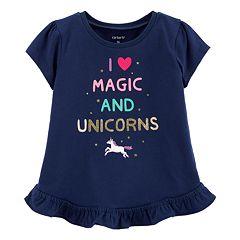 Toddler Girl Carter's 'I Love Magic And Unicorns' Ruffled-Hem Top