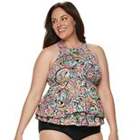 Plus Size A Shore Fit Hip Minimizer Tiered High-Neck Tankini Top