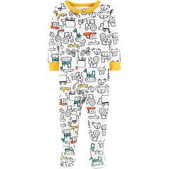 Toddler Boy Carter's Construction Truck Footed Pajamas
