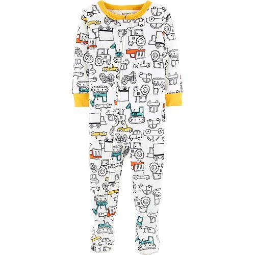 Toddler Boy Carter's Construction Truck Footed Pajamas