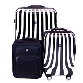 FUL White Swirl 3-Piece Luggage Set