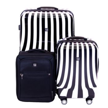 FUL White Swirl 3-Piece Luggage Set