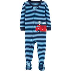 Toddler Boy Carter's Firetruck Striped Footed Pajamas