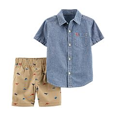 Toddler Boy Carter's Chambray Shirt & Dinosaur Shorts Set