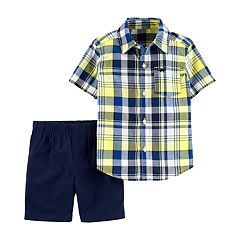 Toddler Boy Carter's Plaid Button Down Shirt & Shorts Set