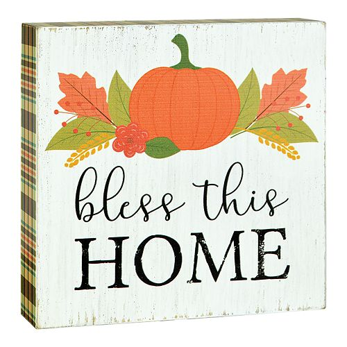 "Belle Maison ""Bless This Home"" Thanksgiving Box Sign Art"