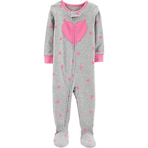 Baby Girl Carter's Heart Print Footed Pajamas