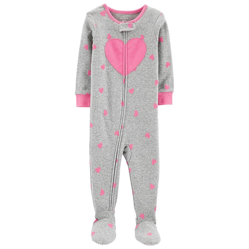 Toddler Girl Carter's Heart Print Footed Pajamas
